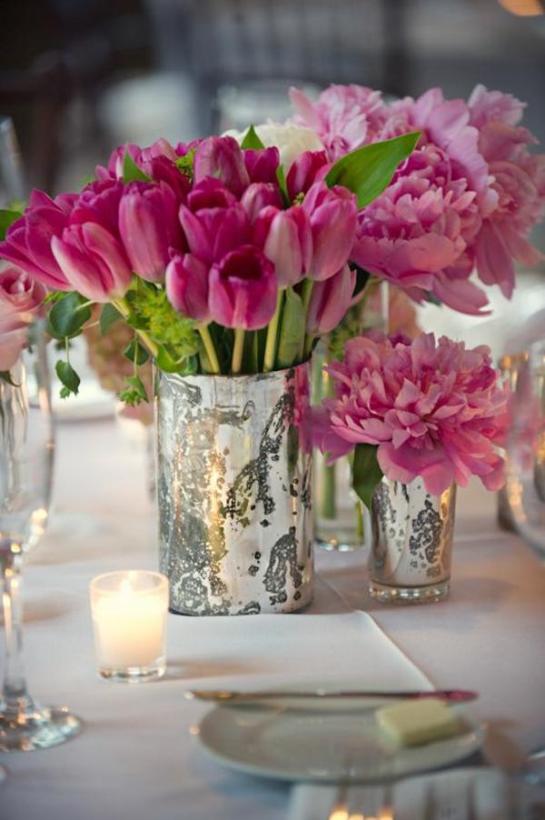 100 tolle ideen f r tischdeko mit tulpen for Tischdeko rosa
