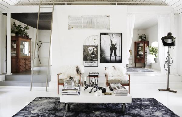 Skandinavisches Appartement Einrichten Eine Hlzerne Treppe