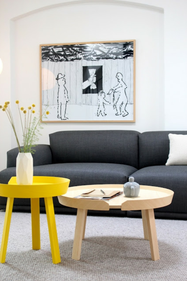 Skandinavisches Appartement Einrichten Gelber Hocker