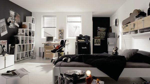 Jugendzimmer für jungs modern schwarz weiß  110 prima Ideen - Jugendzimmer einrichten! - Archzine.net