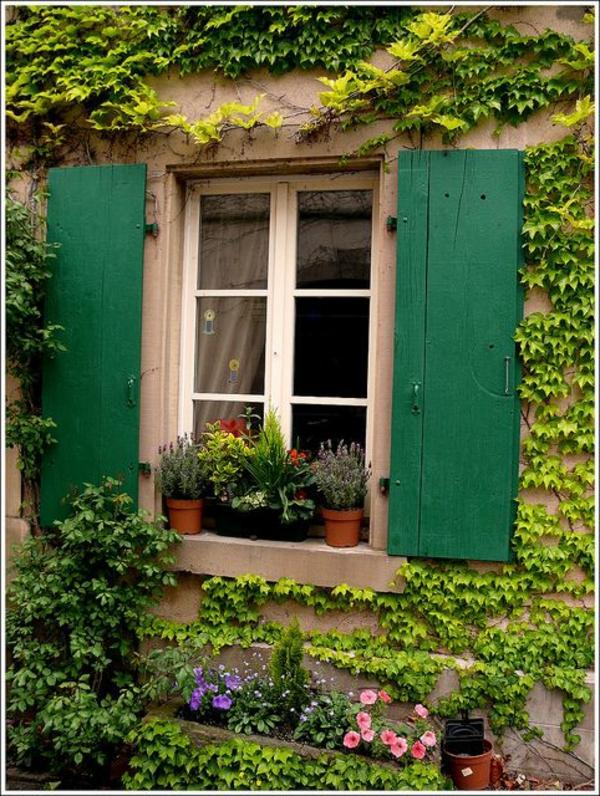 tolle-grüne-Holz-Fensterlaeden