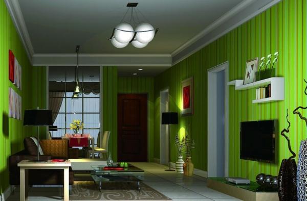 tolles--Wohnzimmer-Wandfarbe-Grüntone