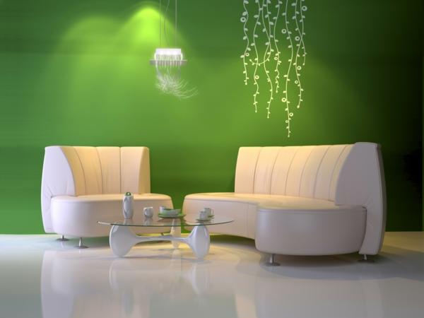ultra-modernes-Wohnzimmer-Wand-.in-Grüntönen
