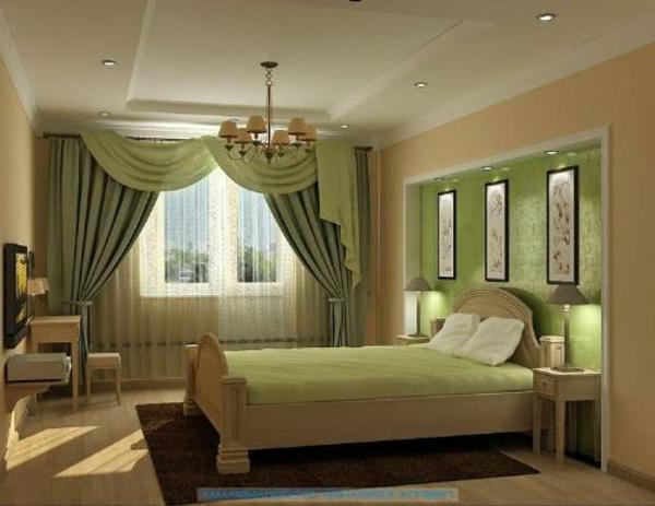 vorhänge-ideen-für-schlafzimmer-grüne-farbe