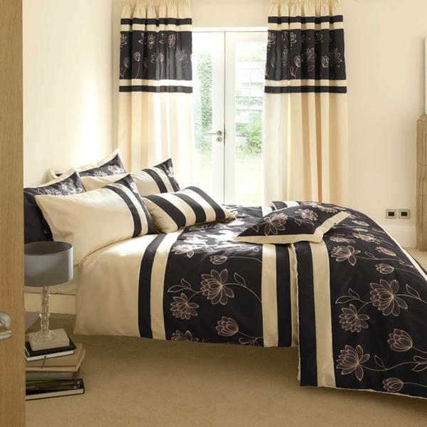 vorhänge ideen für schlafzimmer - weiß und schwarz kombinieren