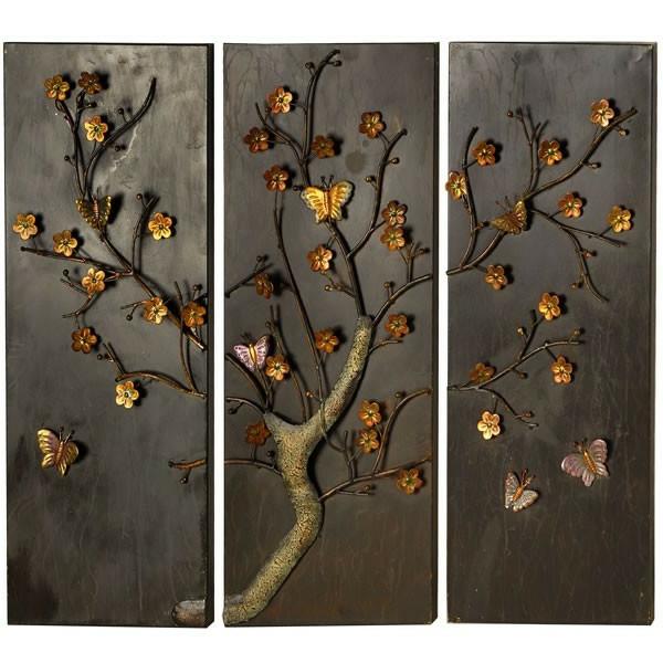 Wanddeko Aus Holz Und Metall ~ Moderne Wanddeko aus Metall – in vier Teilen aufgeteilt
