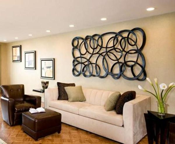 super inspirierende metall wanddeko im modernen wohnzimmer