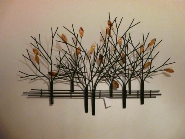 moderne interessante metall wanddeko - bäume