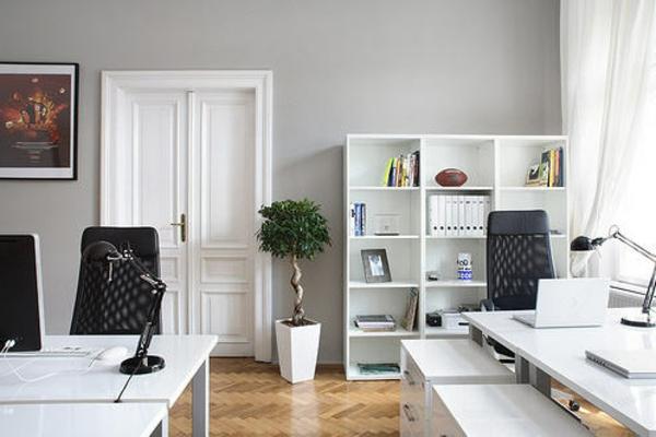 wandfarbe-hellgrau-für-ein-schönes-modernes-arbeitszimmer