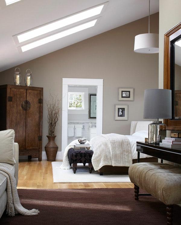 wandfarbe-hellgrau-im-schlafzimmer-in-einer-dachwohnung