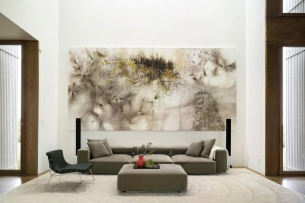 wandgestaltung-wohnzimmer-ideen-bilder-poster-großformatige-prints-wohnzimmermöbel-sofa