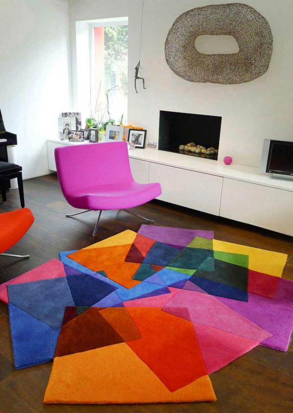 wohnraum gestaltung-bunter-teppich
