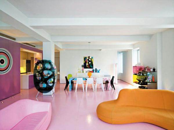 wohnraum gestaltung-orange-sofa