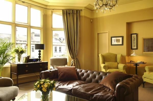 cooles bild wohnzimmer:cooles modell vom modernen wohnzimmer mit gelben wänden