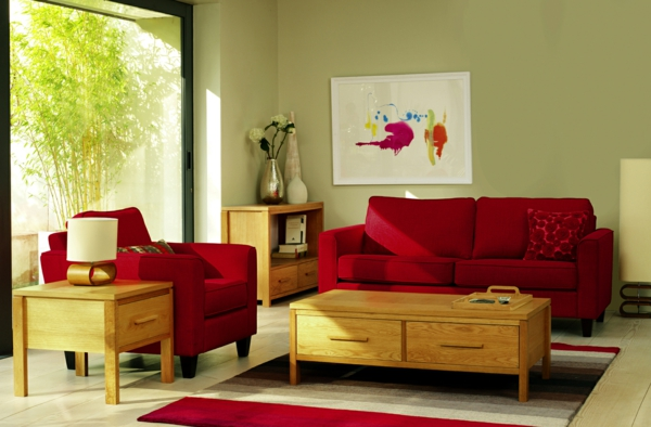 Wandgestaltung Rotes Sofa Wohnzimmer Rote Couch