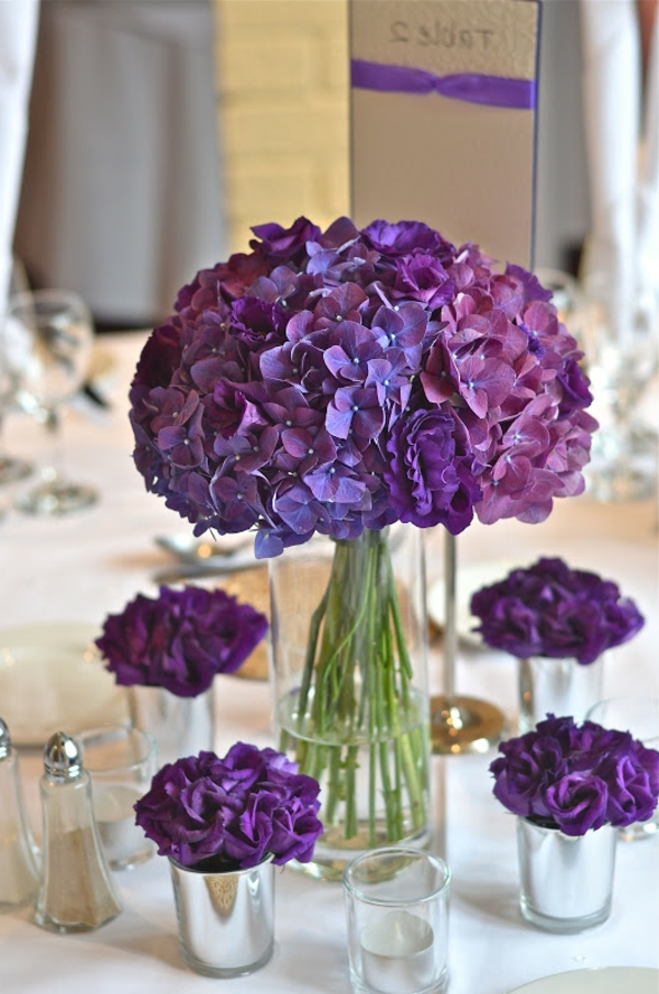 tischdeko zur hochzeit  lila farbe  bilder