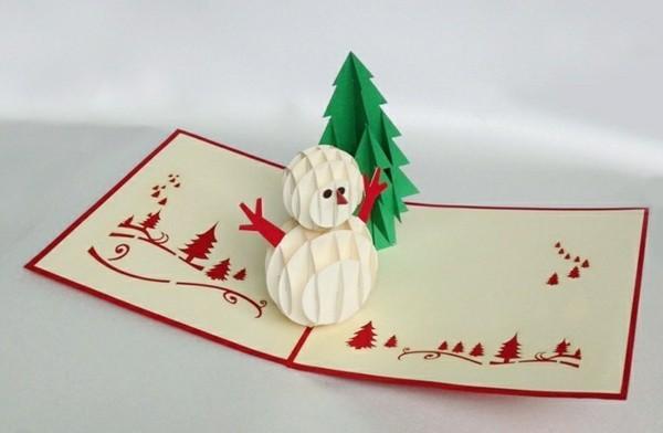 3d-weihnachitskarten-schneemann-und-tannenbaum