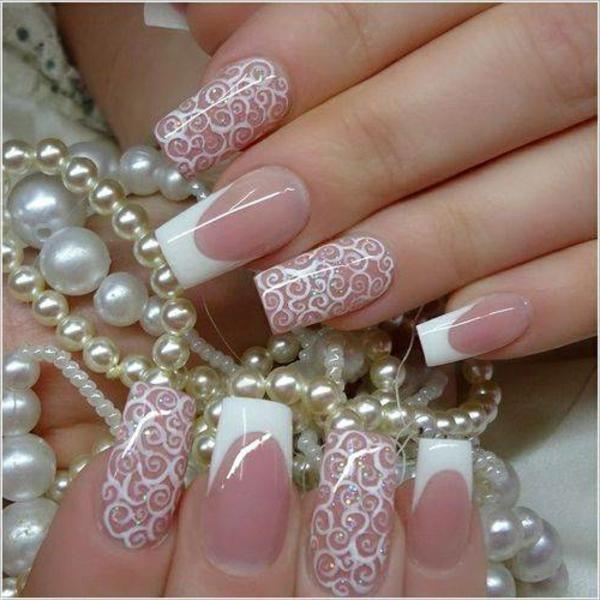nageldesign bilder für hochzeit - weiße perlen als dekoration