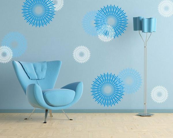 Blaue-Wand-faszinierendes-Design-moderne-und-coole- Wandgestaltung
