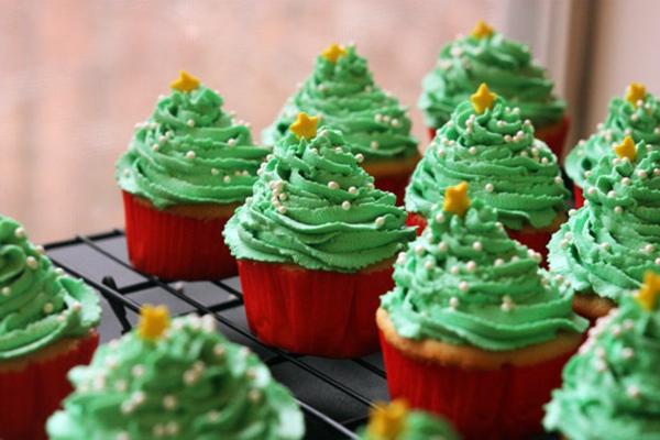 Cupcakes-Rezepten-für-Weihnachten-Weihnachtsbäume