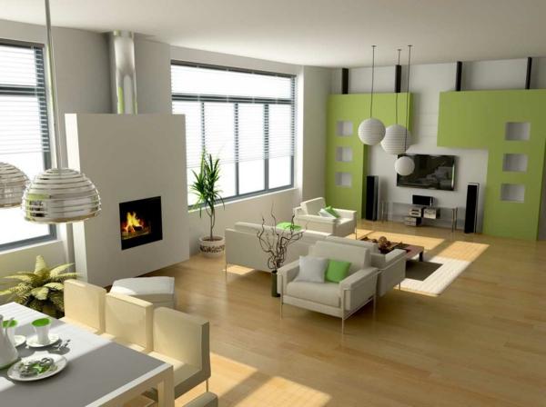 wohnzimmer grau grün:Grün–Wandfarben-modern-Interior-Design-Wohnzimmer