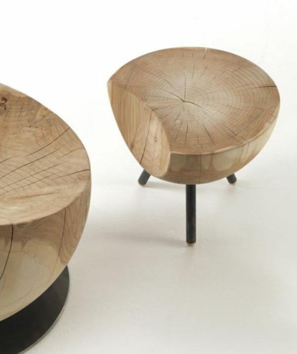 Holzhocker-aus-Holzstamm-mit-kreativem-Design-runde-Form