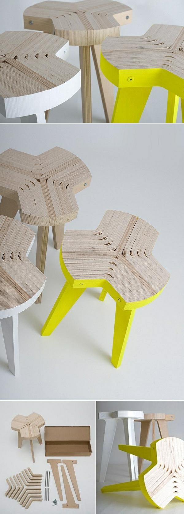 Holzhocker-mit-gestreichten-Beinen-in-Weiß-und-GElb