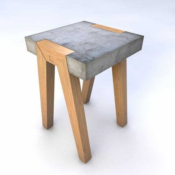 Holzhocker-mit-schönem-Design Hocker aus Holz