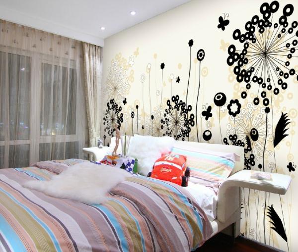 Interior-Design-Idee-kreative-Wandgestaltung-Floralmotive