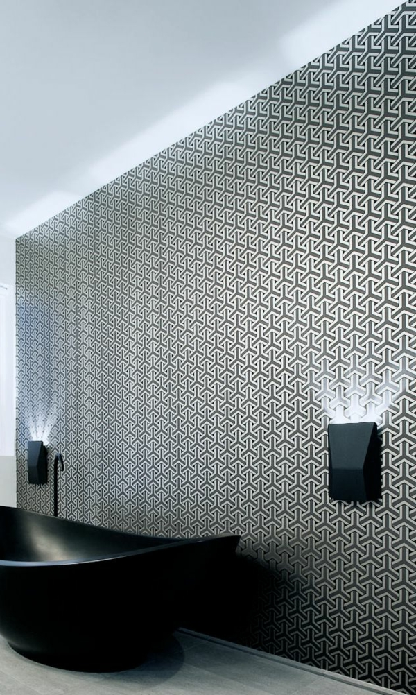 Interior-Design-Idee-kreative-Wandgestaltung-Muster-in-Schwarz-und-Weiß