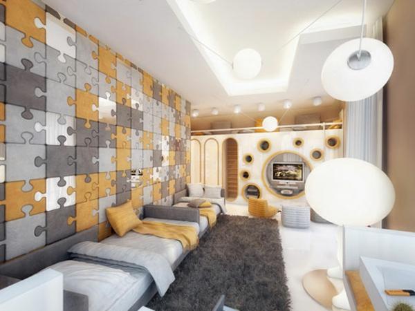 Interior-Design-Idee-kreative-Wandgestaltung-Puzzle-Wand