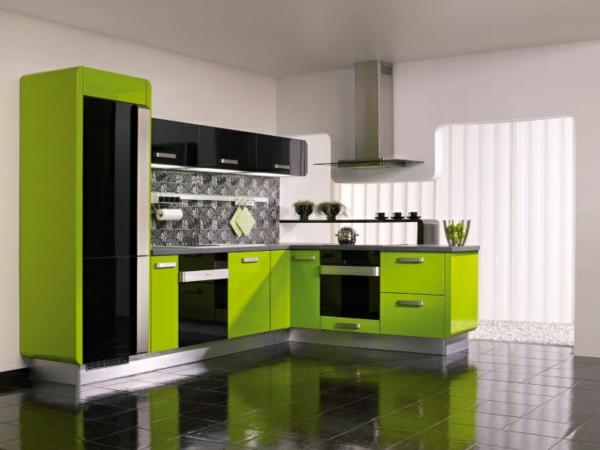 Küche-mit-einem-modernen-Design-Limegrün
