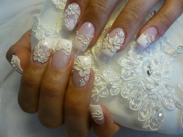 Nageldesign Bilder für Hochzeit -super schön in weiß