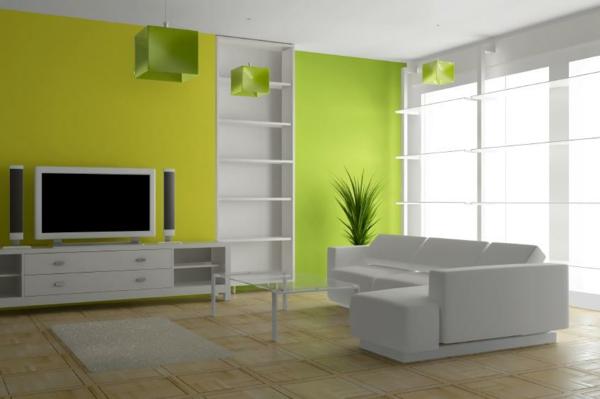 schöne wohnzimmer farbe:Gelb und Grün in einer schönen Kombination