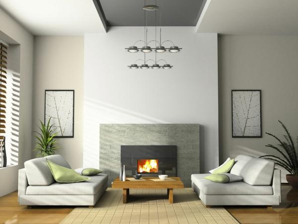 Minimalist-gemütliches-Wohnzimmer- Interior-Design-Holztisch
