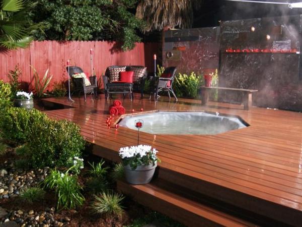 Modernen Garten Mit Einem Jacuzzi Gestalten Whirlpool Im Garten