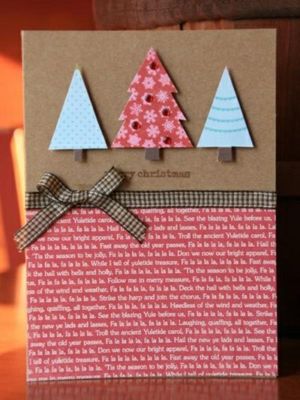 Originelle-Ideen-für-Gestaltung-von- Weihnachtskarten--Tannenbäumen