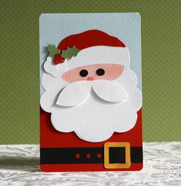 Originelle-Ideen-für-Gestaltung-von- Weihnachtskarten-mit-Weihnachtsmann