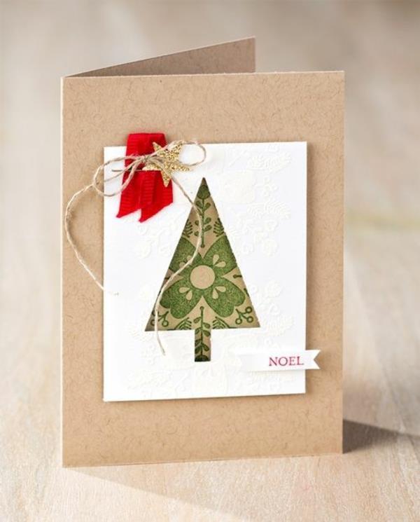 Originelle-Ideen-für-Gestaltung-von- Weihnachtskarten-mit-einem-Weihnachtsbaum