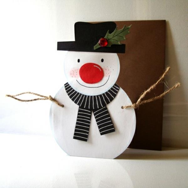 Schneemann-schöne-Weihnachtskarte-selber-basteln-Schneemann