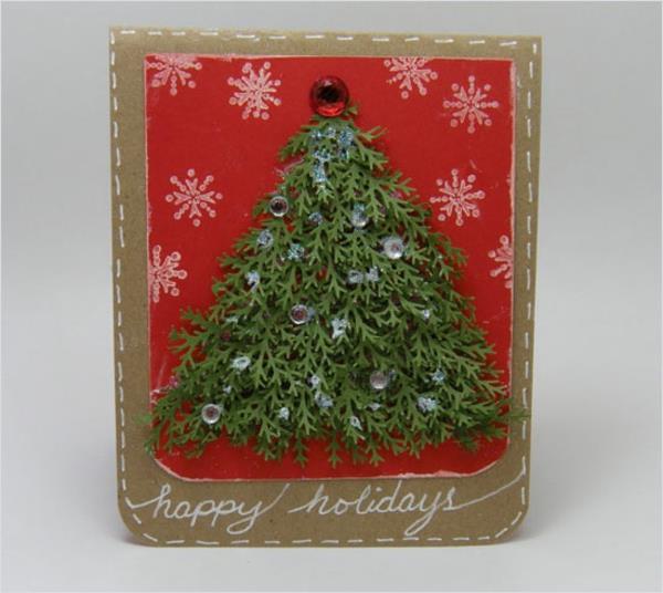 Tolle--Ideen-für-Gestaltung-von- Weihnachtskarten-Tannenbaum-