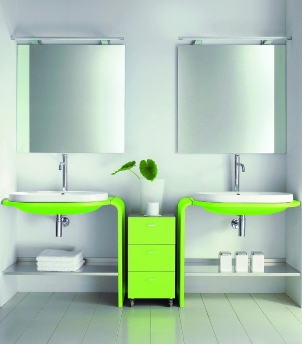 Waschtische-Design-modern-Neon-Grün-Badezimmer-Trends