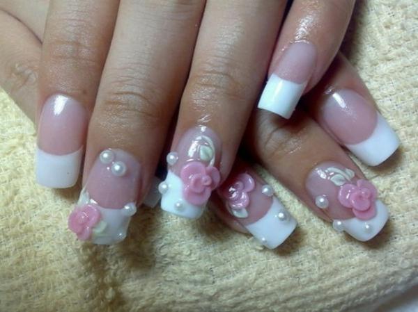 nageldesign bilder für hochzeit - rosige rosen