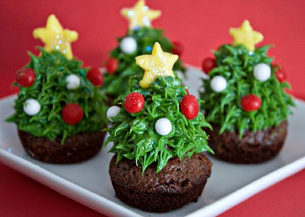 Weihnachts-cupcakes-Schokoladen-Cupcakes-Weihnachtsbäume