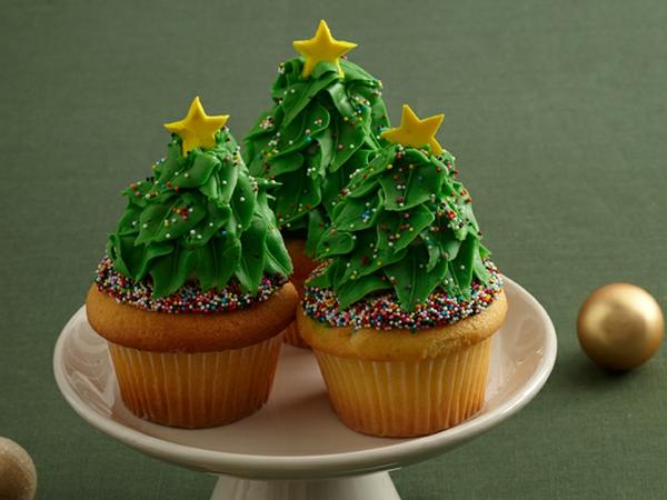 Weihnachtsbäume-Weihnachts-cupcakes