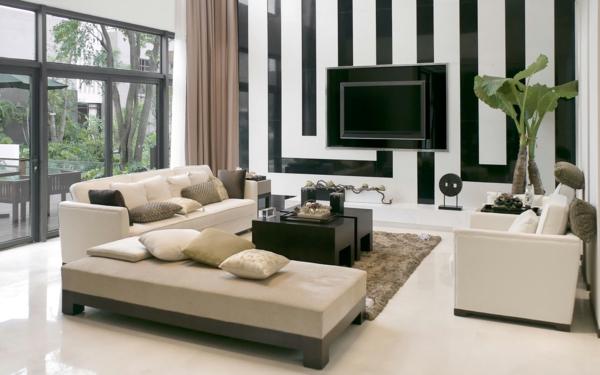 Wohnzimmer-weiße-und-schwarze-Streifen-Wandfarben-modern-Interior-Design