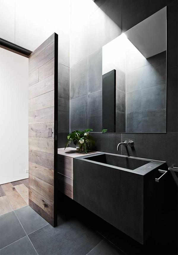 aktuelle-Beispiele-für-ein-modernes-Badezimmer-dunkle-Fliesen- Modernes Badezimmer - Ideen