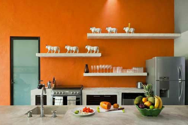 Coole k chen wandfarbe gelb orange und rot for Wand orange
