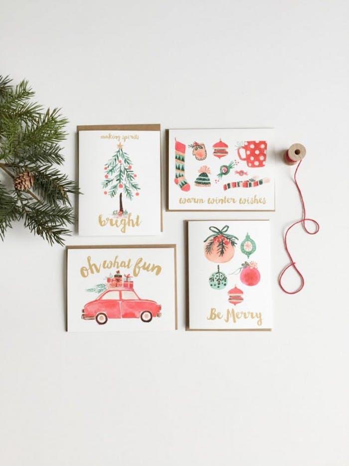 Selbstgemachte Weihnachtskarten, verschiedene Weihnachtsmotive malen mit Aquarellfarben