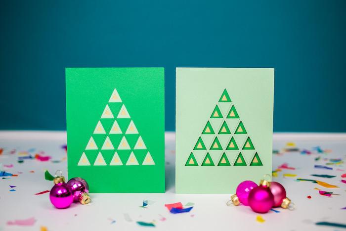 Weihnachtskarten mit Tannenbaum selber machen, kleine Dreiecke ausschneiden